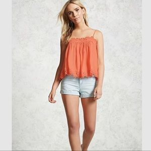 Coral lace tank